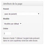 Attributs d'une page Wordpress